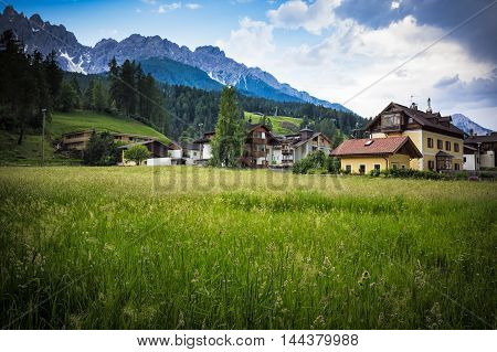 Some typical moutains houses in San Candido Trentino Italy