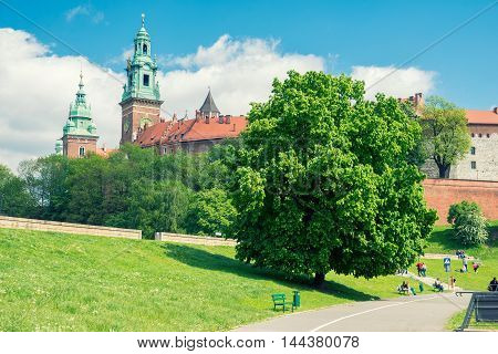 Wawel is a fortified architectural complex on the left bank of the Vistula river in Krakow, Poland