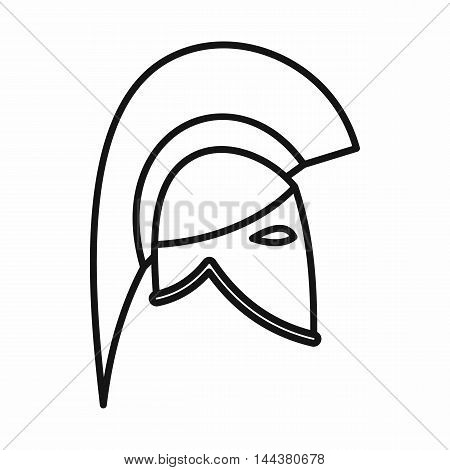 Knight helmet icon in outline style on a white background