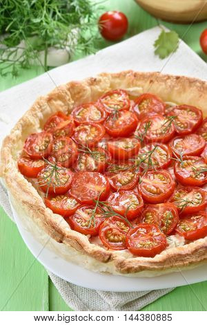 Tomato pie pizza on plate top view