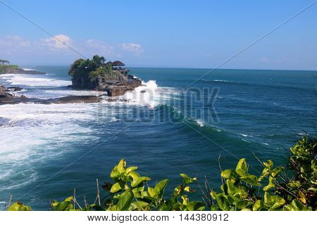 Famous Tanah Lot Temple situated on an offshore rock off Bali Island Indonesia