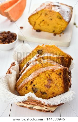 Slices of pumpkin bread with nuts and raisin