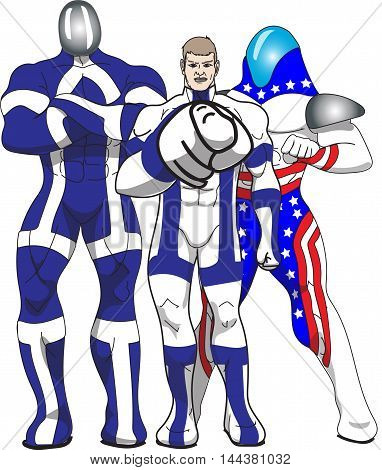 Three Patriotic Heroes in red white and blue
