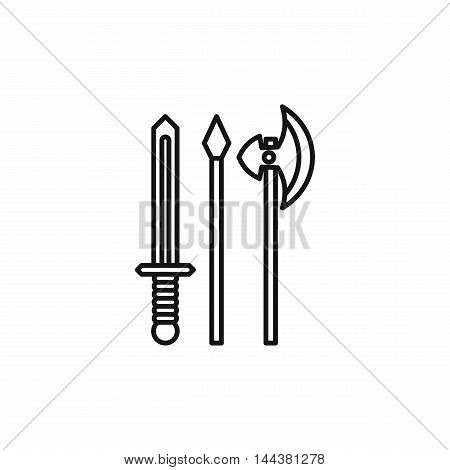Medieval weapons icon in outline style on a white background