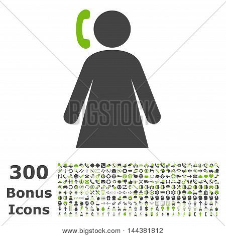 Calling Woman icon with 300 bonus icons. Vector illustration style is flat iconic bicolor symbols, eco green and gray colors, white background.