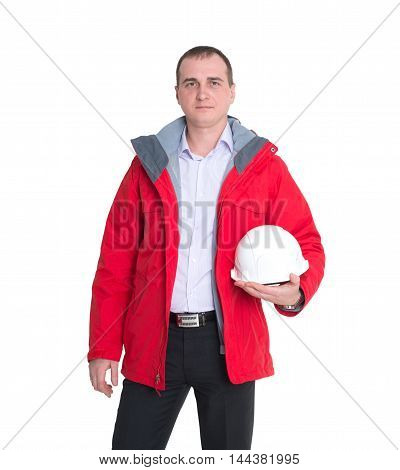 A man wearing a leather jacket holding a white construction helmet