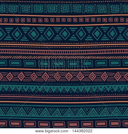 Seamless ethnic pattern. Tribal ornament. Striped geometric background drawing by hand. Vector illustration.