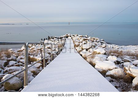 beautiful winter landscape with a sea view