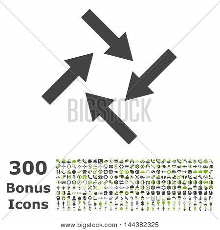 Centripetal Arrows icon with 300 bonus icons. Vector illustration style is flat iconic bicolor symbols, eco green and gray colors, white background.