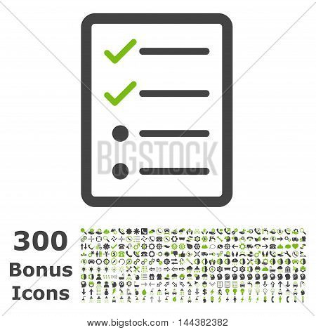 Checklist Page icon with 300 bonus icons. Vector illustration style is flat iconic bicolor symbols, eco green and gray colors, white background.