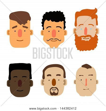Cartoon Male Faces. Different ethnicity. Vector illustration
