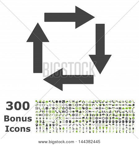 Circulation Arrows icon with 300 bonus icons. Vector illustration style is flat iconic bicolor symbols, eco green and gray colors, white background.