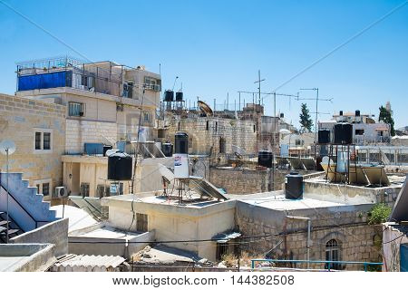 JERUSALEM, ISRAEL - JUNE 2, 2015: View of the old town