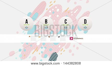 Infographic elements, steps and options. Trendy geometric flat pattern, frame with abstract background for brochure, flyer or presentations design, vector illustration.