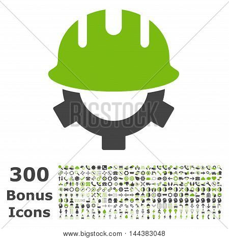 Development Helmet icon with 300 bonus icons. Vector illustration style is flat iconic bicolor symbols, eco green and gray colors, white background.