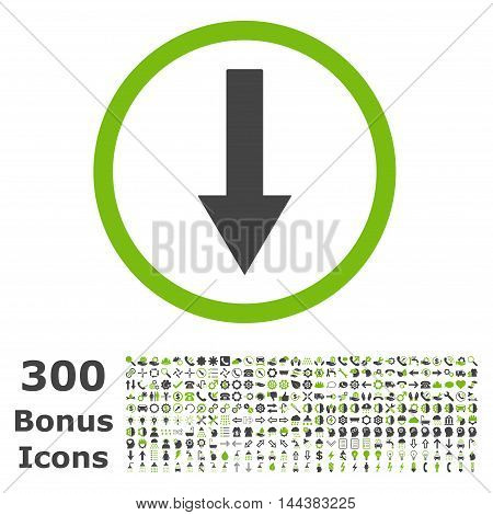 Down Rounded Arrow icon with 300 bonus icons. Vector illustration style is flat iconic bicolor symbols, eco green and gray colors, white background.