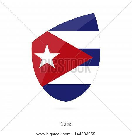 Flag of Cuba in the style of Rugby icon.. Vector Illustration.
