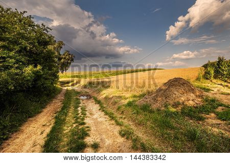 Dirt road and haystack. Moravian landscape Boskovice.