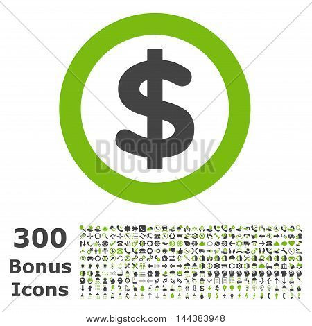 Finance icon with 300 bonus icons. Vector illustration style is flat iconic bicolor symbols, eco green and gray colors, white background.