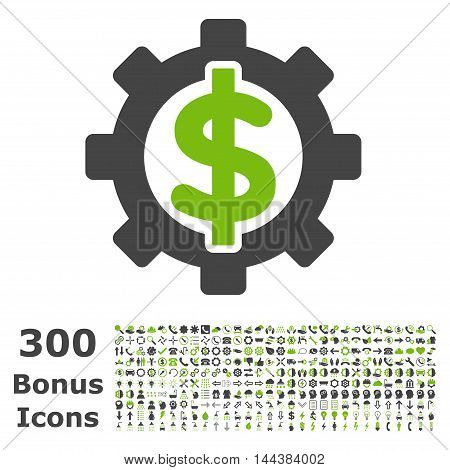 Financial Options icon with 300 bonus icons. Vector illustration style is flat iconic bicolor symbols, eco green and gray colors, white background.