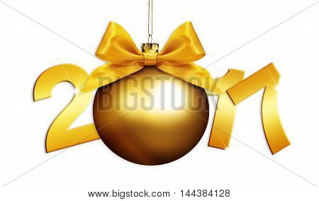 christmas ball and 2017 text with golden satin ribbon bow on white background