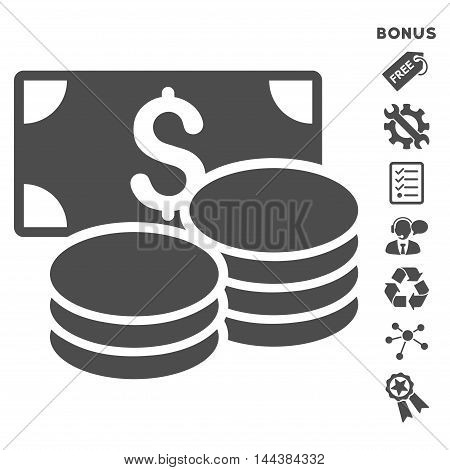Cash icon with bonus pictograms. Vector illustration style is flat iconic symbols, gray color, white background, rounded angles.