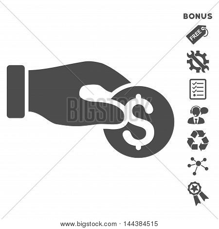 Coin Donation icon with bonus pictograms. Vector illustration style is flat iconic symbols, gray color, white background, rounded angles.