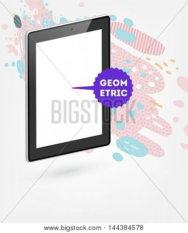 Tablet PC Icon, Trendy geometric flat pattern, abstract background for brochure, flyer or presentations design, vector illustration.