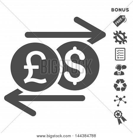 Currency Exchange icon with bonus pictograms. Vector illustration style is flat iconic symbols, gray color, white background, rounded angles.
