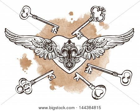 The Keys To The Heart. Isolated Vector Illustration. Heart Shaped Padlock With Wings In Vintage Engr