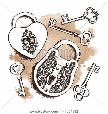 Keys And Locks Over Watercolor Background. Isolated Vector Illustration. Heart Shaped Padlock With W
