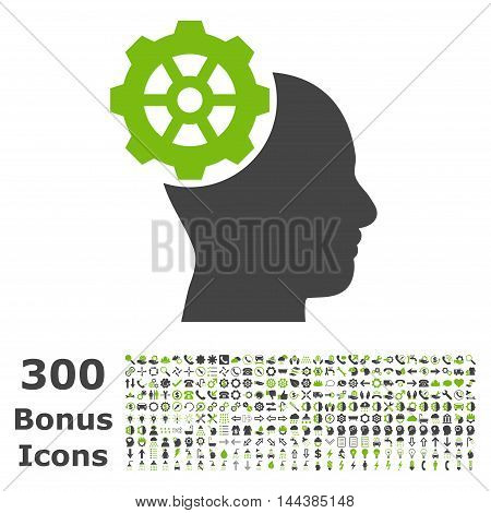 Head Gear icon with 300 bonus icons. Vector illustration style is flat iconic bicolor symbols, eco green and gray colors, white background.