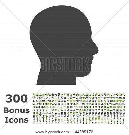 Head Profile icon with 300 bonus icons. Vector illustration style is flat iconic bicolor symbols, eco green and gray colors, white background.