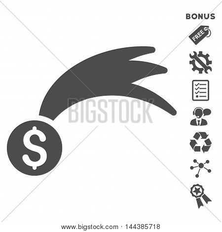 Lucky Money icon with bonus pictograms. Vector illustration style is flat iconic symbols, gray color, white background, rounded angles.