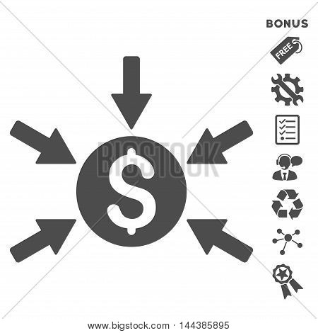 Money Income icon with bonus pictograms. Vector illustration style is flat iconic symbols, gray color, white background, rounded angles.