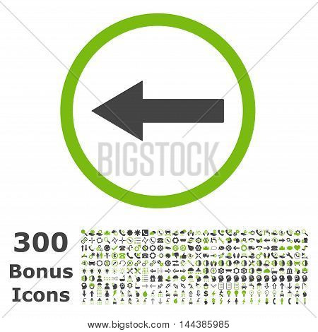 Left Rounded Arrow icon with 300 bonus icons. Vector illustration style is flat iconic bicolor symbols, eco green and gray colors, white background.