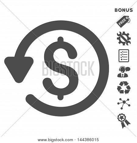 Refund icon with bonus pictograms. Vector illustration style is flat iconic symbols, gray color, white background, rounded angles.