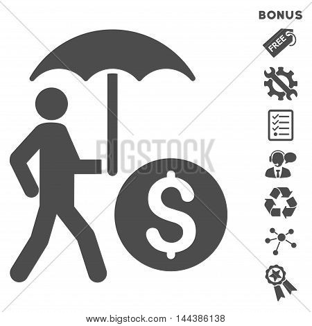 Walking Banker With Umbrella icon with bonus pictograms. Vector illustration style is flat iconic symbols, gray color, white background, rounded angles.