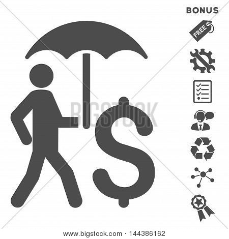Walking Businessman With Umbrella icon with bonus pictograms. Vector illustration style is flat iconic symbols, gray color, white background, rounded angles.