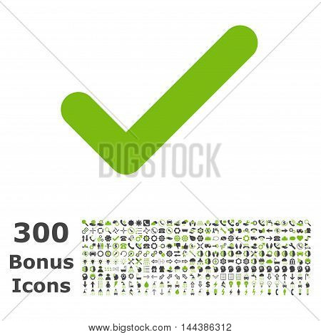 Ok icon with 300 bonus icons. Vector illustration style is flat iconic bicolor symbols, eco green and gray colors, white background.