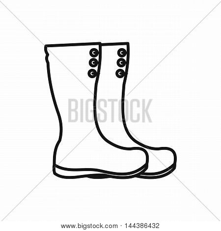 Hunting boots icon in outline style on a white background