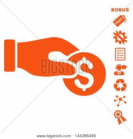 Coin Donation icon with bonus pictograms. Vector illustration style is flat iconic symbols, orange color, white background, rounded angles.
