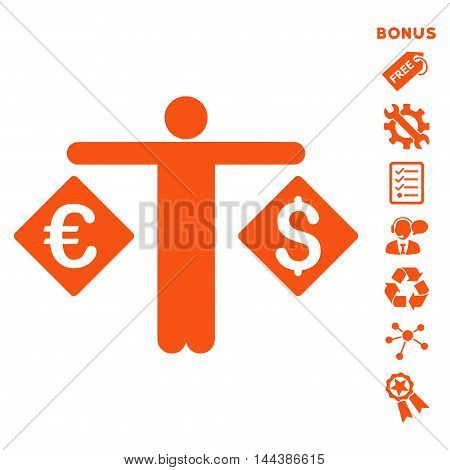 Currency Trader icon with bonus pictograms. Vector illustration style is flat iconic symbols, orange color, white background, rounded angles.