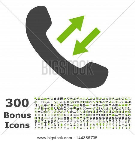 Phone Talking icon with 300 bonus icons. Vector illustration style is flat iconic bicolor symbols, eco green and gray colors, white background.