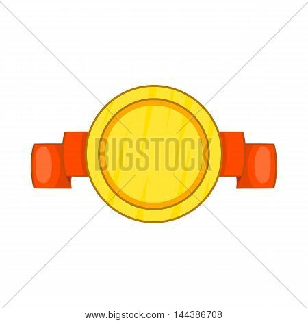 Metal medal with ribbon icon in cartoon style isolated on white background
