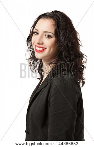 portrait of a young woman in studio, isolated on white background