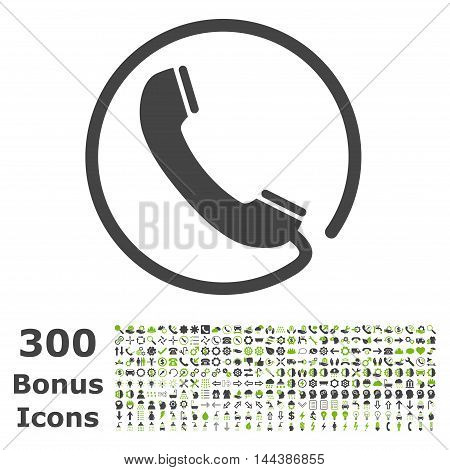Phone icon with 300 bonus icons. Vector illustration style is flat iconic bicolor symbols, eco green and gray colors, white background.