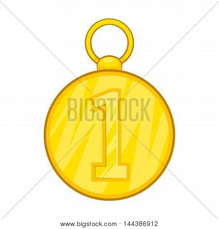 First position cold medal icon in cartoon style isolated on white background