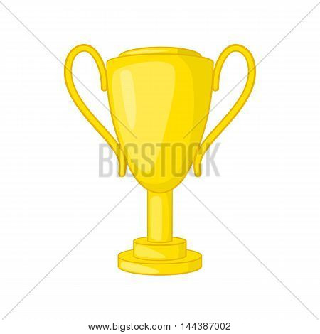 Golden trophy cup icon in cartoon style isolated on white background