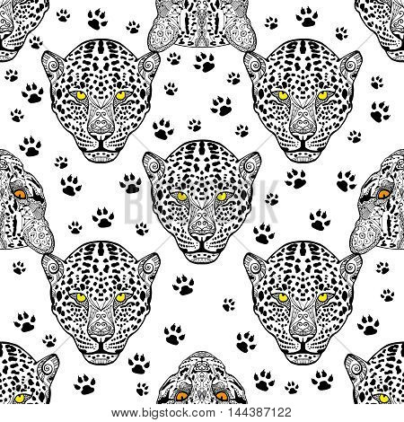 Vector wild cats seamless pattern background with hand drawn elements. Seamless hand drawn animal. Zenart